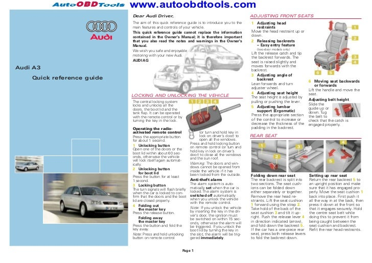 audi a3 quick reference guide diagram user manual rh slideshare net
