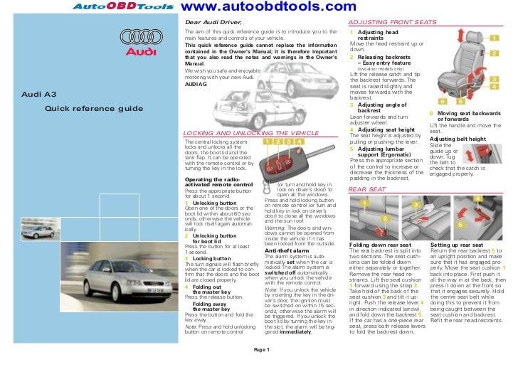 audi a3 quick reference guide diagram user manual rh slideshare net Audi TT Interior Audi TT Manual Transmission
