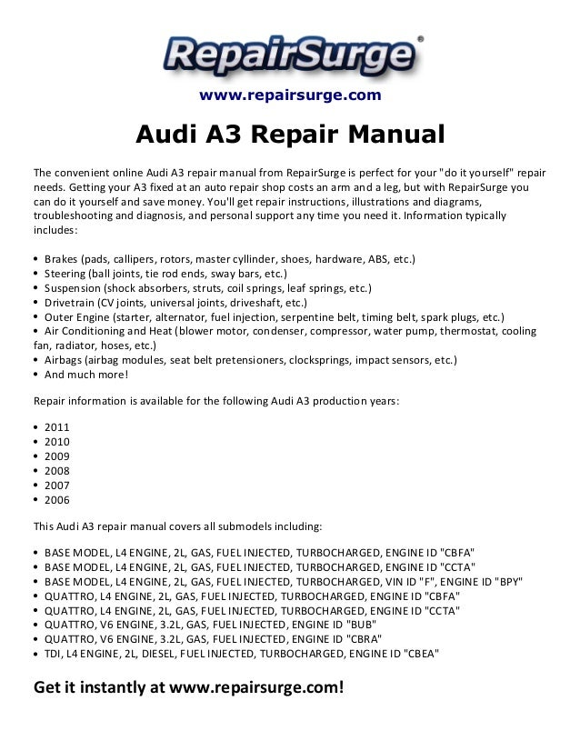 audi a3 repair manual 2006 2011 rh slideshare net service manual audi a3 8p service manual audi a3 8p
