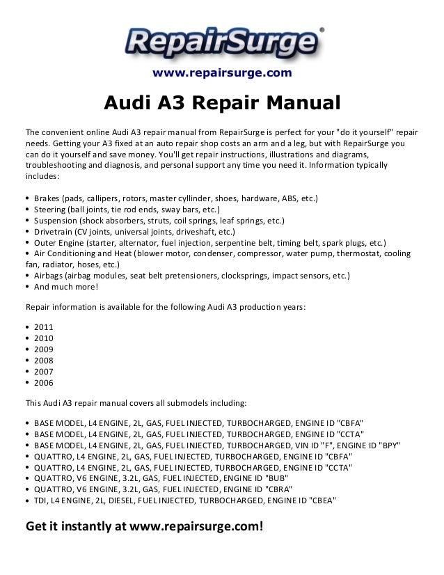 audi a3 repair manual 2006 2011 rh slideshare net audi a3 haynes manual online audi a3 repair manual pdf