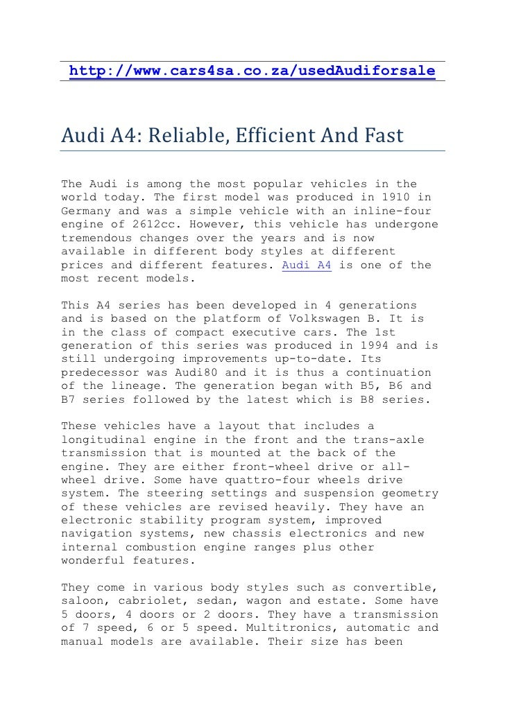 http://www.cars4sa.co.za/usedAudiforsaleAudi A4: Reliable, Efficient And FastThe Audi is among the most popular vehicles i...