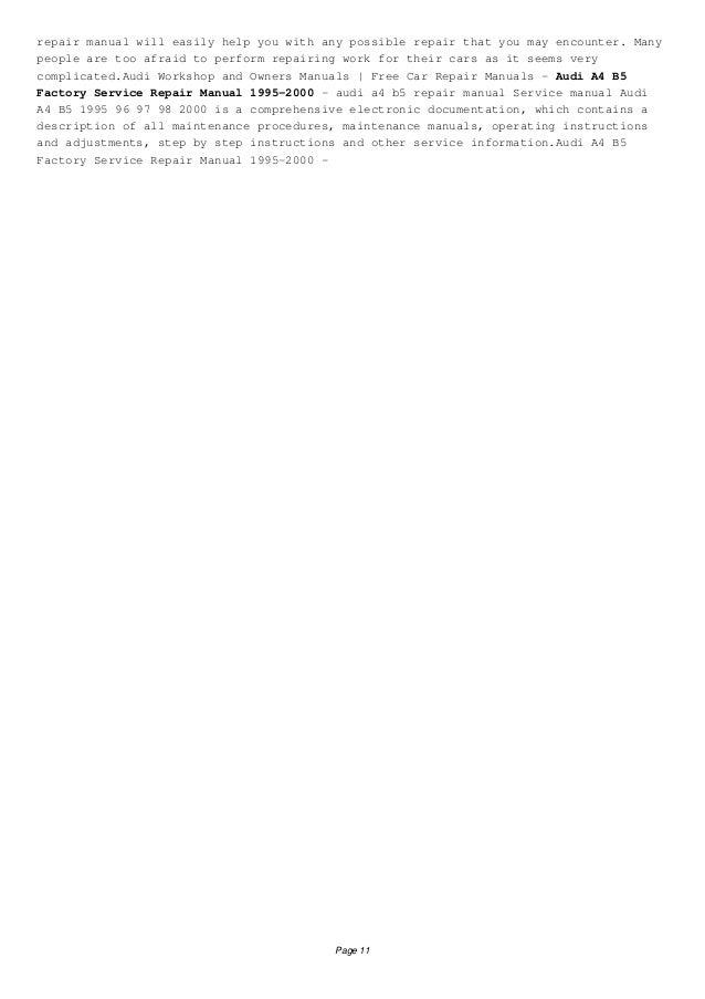 Download Audi A4 B5 Repair Manual