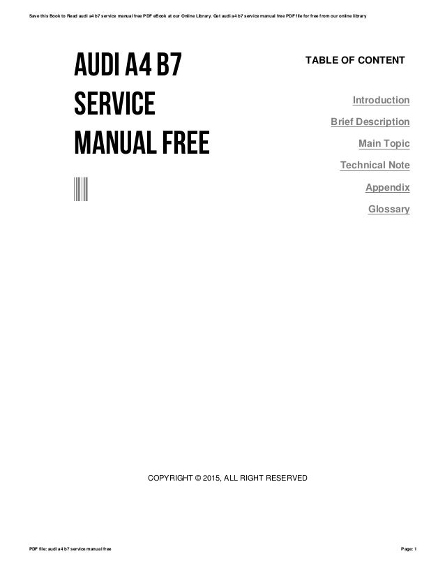 audi a4 b7 service manual free rh slideshare net audi a4 b8 factory repair manual audi a6 factory repair manual