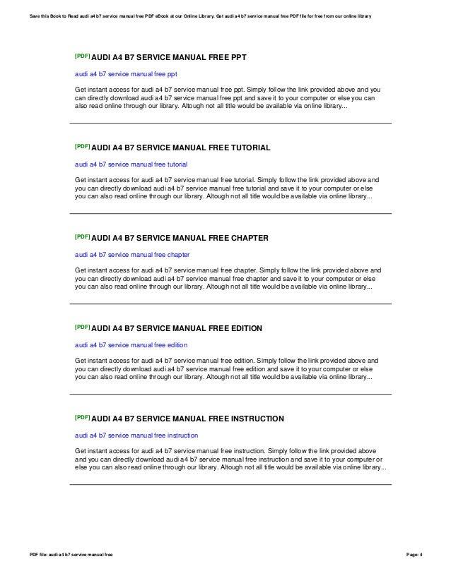 Audi A4 B7 Service Manual Free