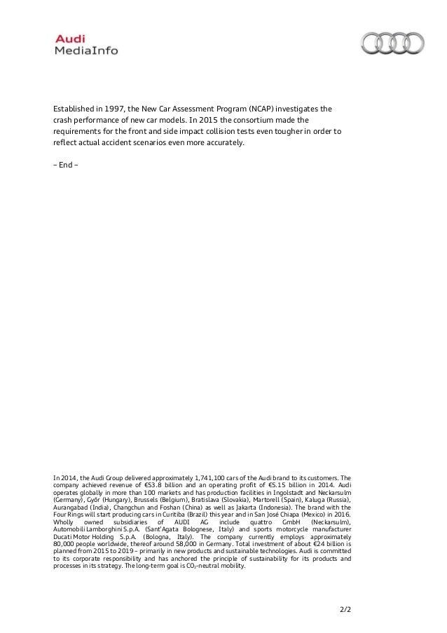 new car press releasesAudi a4 five star ncap rating  Press release