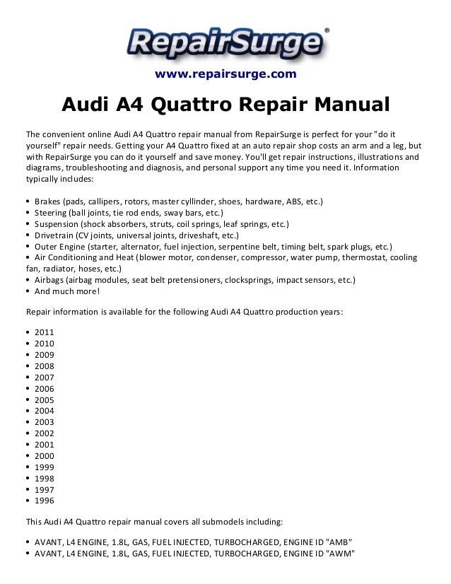 audi a4 quattro repair manual 1996 2011 rh slideshare net 2003 audi a4 3.0 repair manual 2003 audi a4 cabriolet repair manual