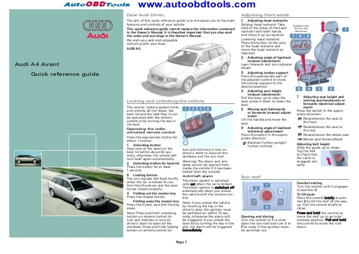 audi a4 quick reference guide diagram user manual rh slideshare net audi a4 2017 guide audi a4 2018 guide de l'auto