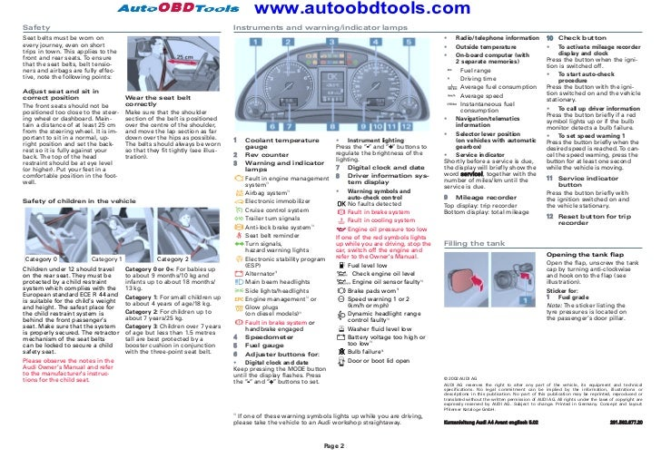 Audi A4 Quick Reference Guide Diagram User Manual