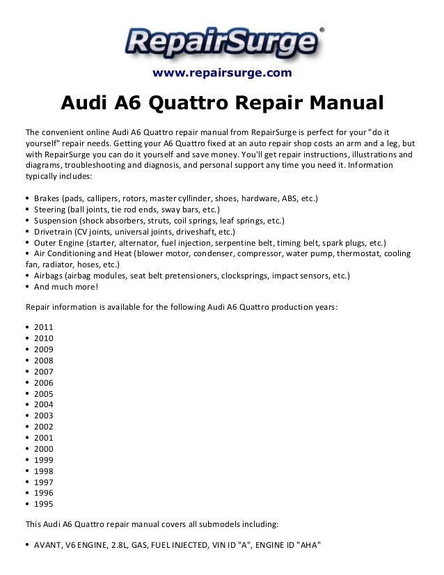 Repairsurge Audi A6 Quattro Repair Manual The Convenient Online Avant V6 Engine: Audi V6 Engine Diagram At Aslink.org