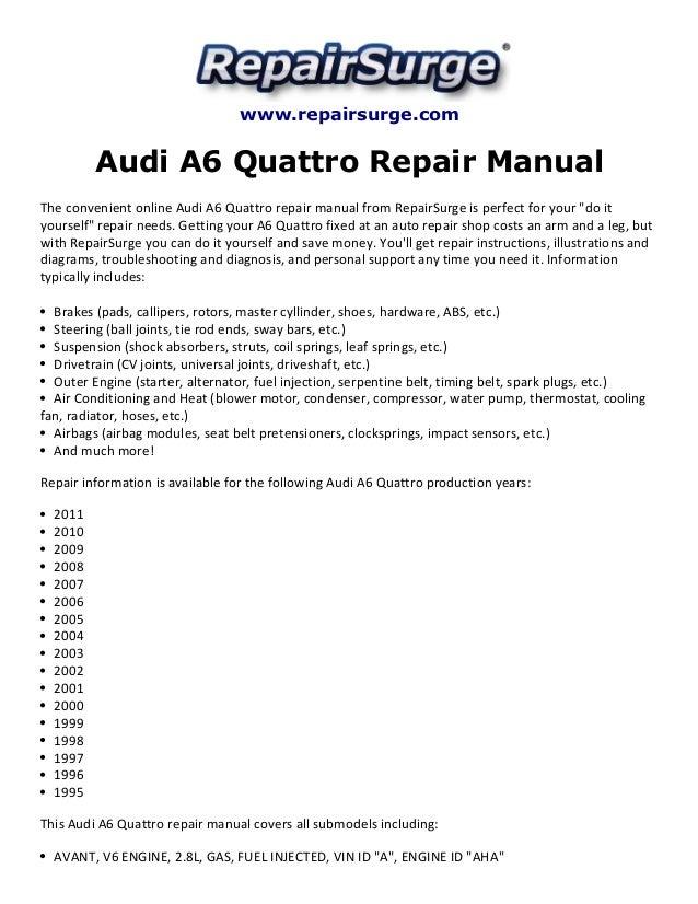 audi a6 quattro repair manual 1995 2011 rh slideshare net Audi A6 Rims audi a6 2001 workshop manual