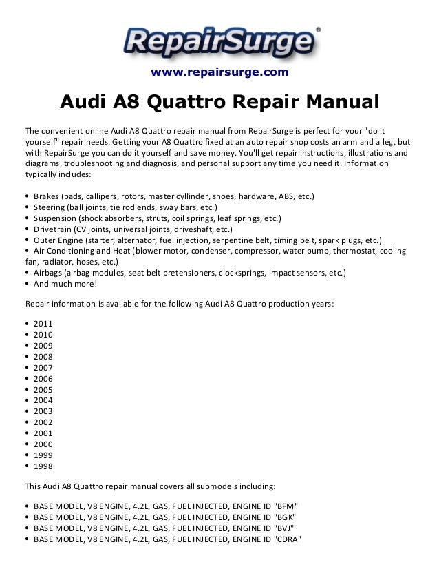 audi a8 quattro repair manual 1998 2011 audi a8l body kits www repairsurge com audi a8 quattro repair manual the convenient online audi a8 quattro