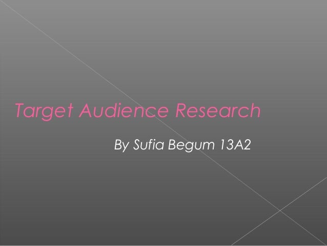 Target Audience Research By Sufia Begum 13A2