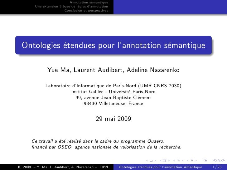 Annotation s´mantique                                           e          Une extension ` base de r`gles d'annotation    ...