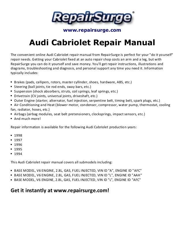 audi cabriolet repair manual 1994 1998 rh slideshare net 1996 Audi Models 1996 audi cabriolet owners manual