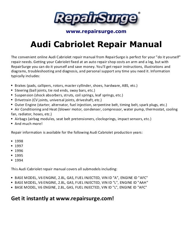 Audi Cabriolet Repair Manual 1994 1998