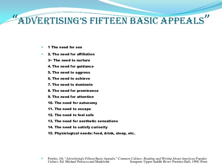 jib fowles 15 basic appeals advertising essay