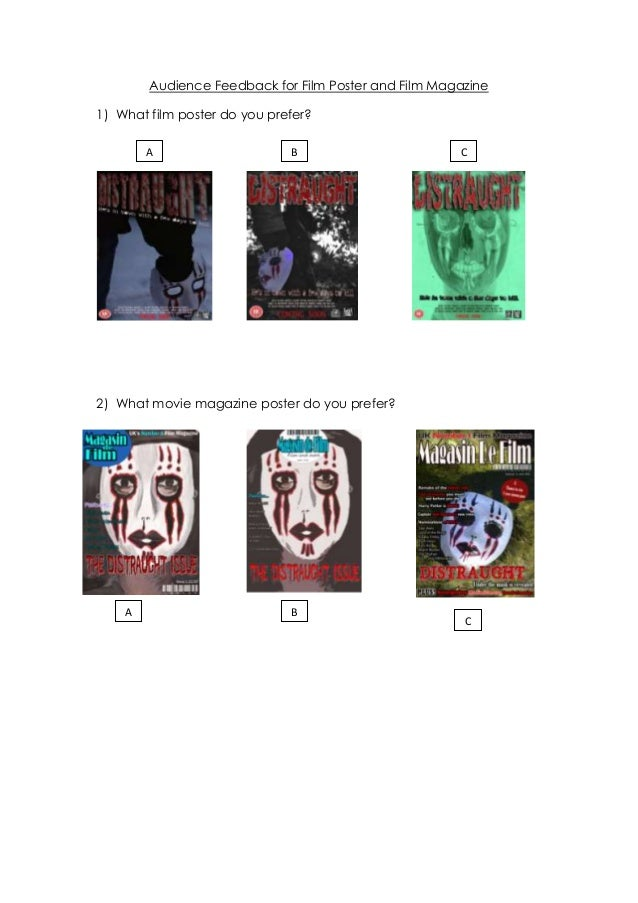 Audience Feedback for Film Poster and Film Magazine1) What film poster do you prefer?        A                     B      ...