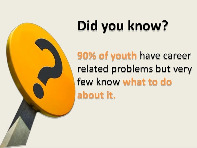 90% of youth have career related problems but very few know what to do about it. Did you know?