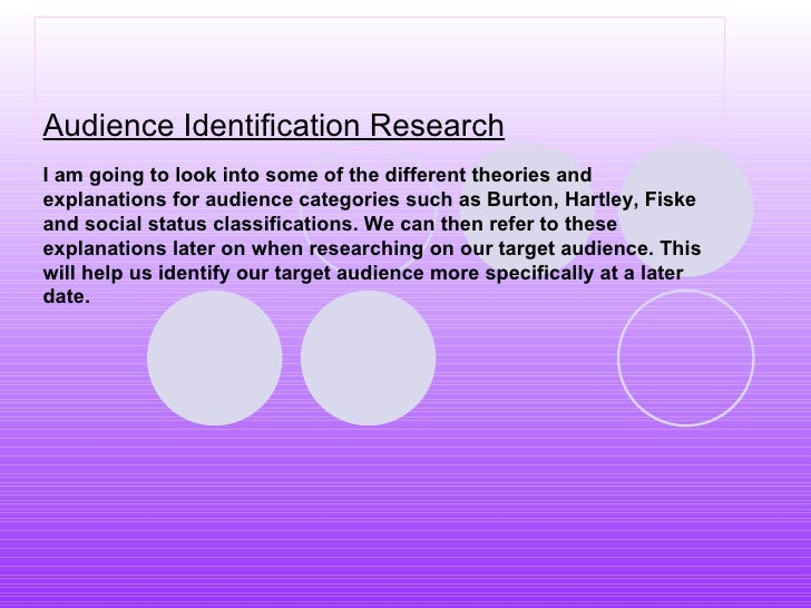 Audience Identification Research I am going to look into some of the different theories and explanations for audience cate...