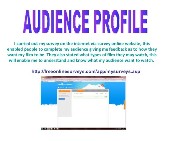 I carried out my survey on the internet via survey online website, thisenabled people to complete my audience giving me fe...