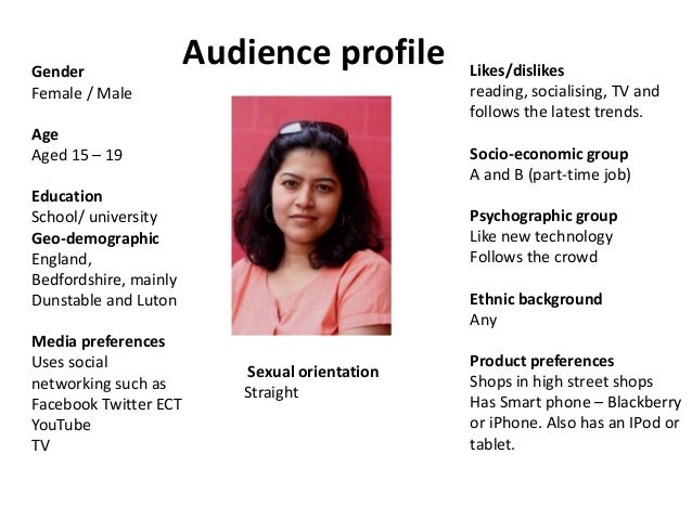Gender Female / Male  Audience profile  Age Aged 15 – 19  Socio-economic group A and B (part-time job)  Education School/ ...