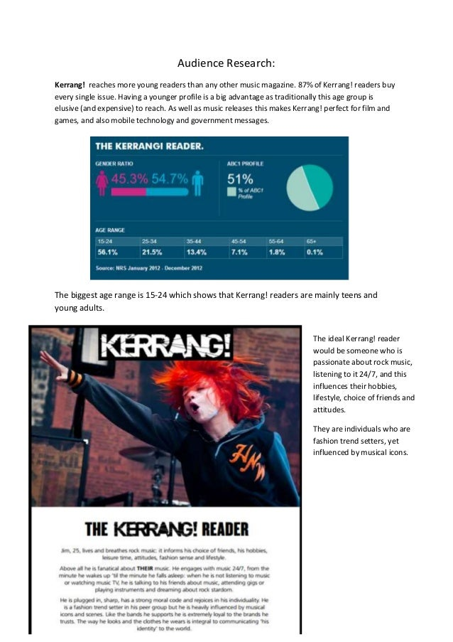 Audience Research: Kerrang! reaches more young readers than any other music magazine. 87% of Kerrang! readers buy every si...