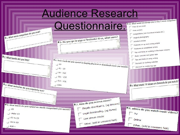 Audience Research Questionnaire.