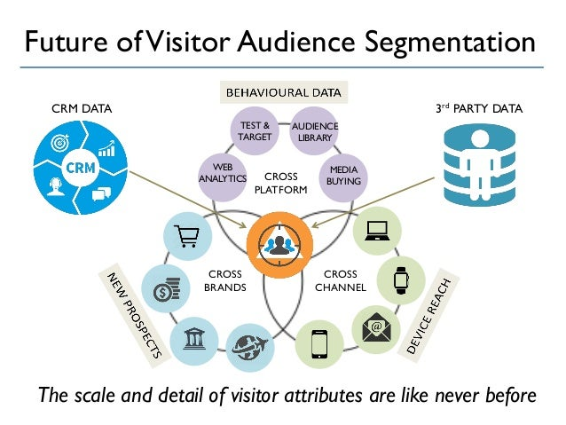 Future ofVisitor Audience Segmentation CROSS CHANNEL CROSS PLATFORM CROSS BRANDS WEB ANALYTICS TEST & TARGET AUDIENCE LIBR...