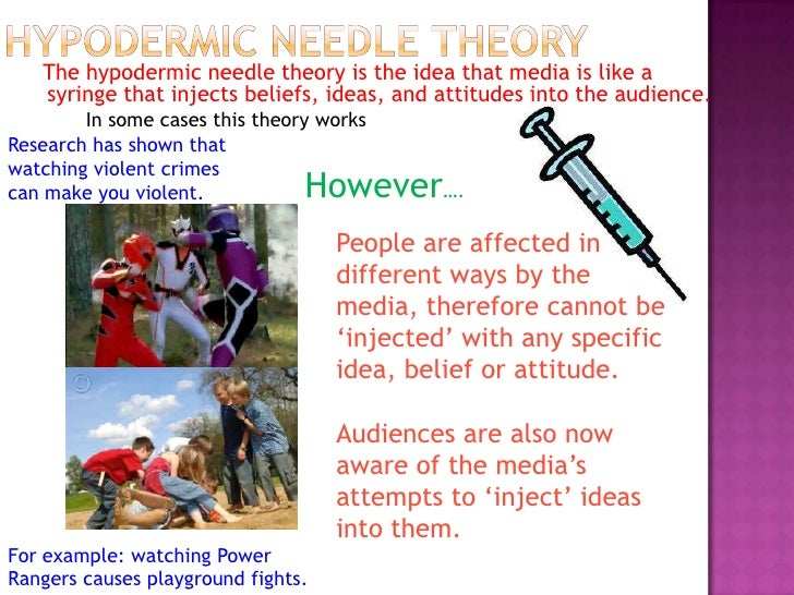 The hypodermic needle theory is the idea that media is like a   syringe that injects beliefs, ideas, and attitudes into th...