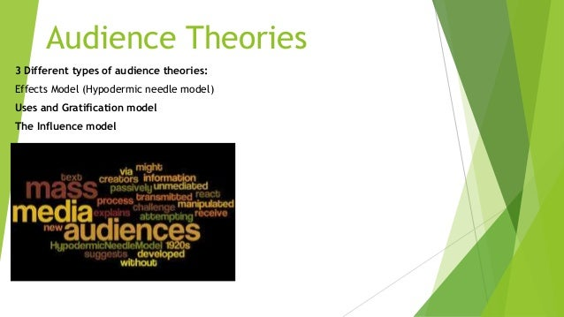 Audience Theories 3 Different types of audience theories: Effects Model (Hypodermic needle model) Uses and Gratification m...