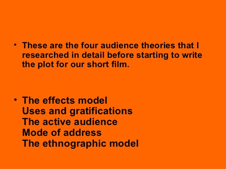 active audience theory 1: the active audience and the politics of pleasurethe encounter with philosophy and post-modern theory has left much cultural / communications studies and indeed many other areas of social science, struggling with the notion of small groups or individuals actively constructing their own interpretations and the meaning of their world.