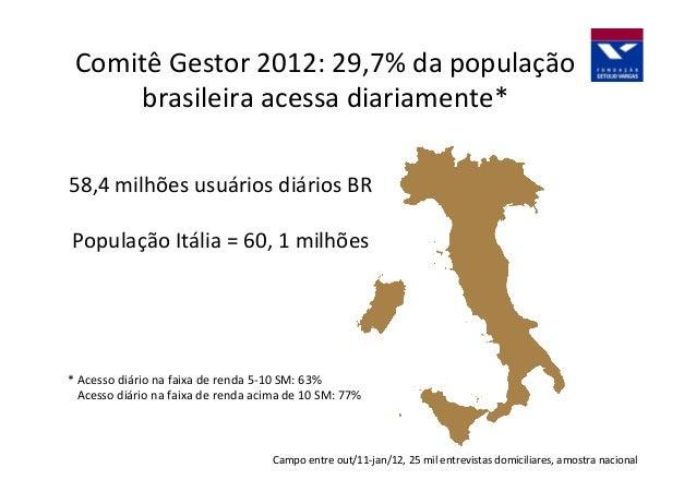 Comitê  Gestor  2012:  29,7%  da  população   brasileira  acessa  diariamente*   58,4  milhões  usuá...