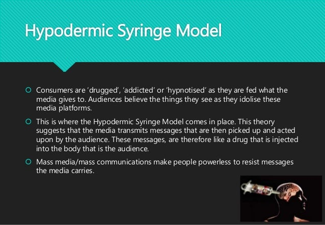 hypodermic syringe model sees media audience passive and e 'the hypodermic syringe model sees the media audience as passive and easily influenced and manipulated by the mass media' assess this,referring to sociological.
