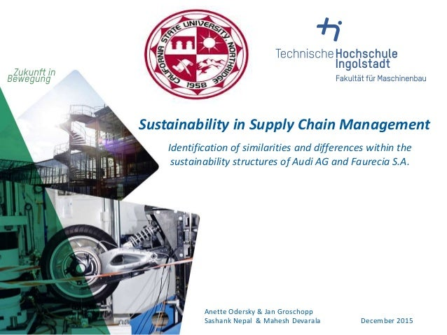 Sustainability in Supply Chain Management Identification of similarities and differences within the sustainability structu...