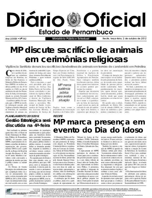 Diário Oficial                                   Estado de PernambucoAno LXXXIX            NO 182                        ...