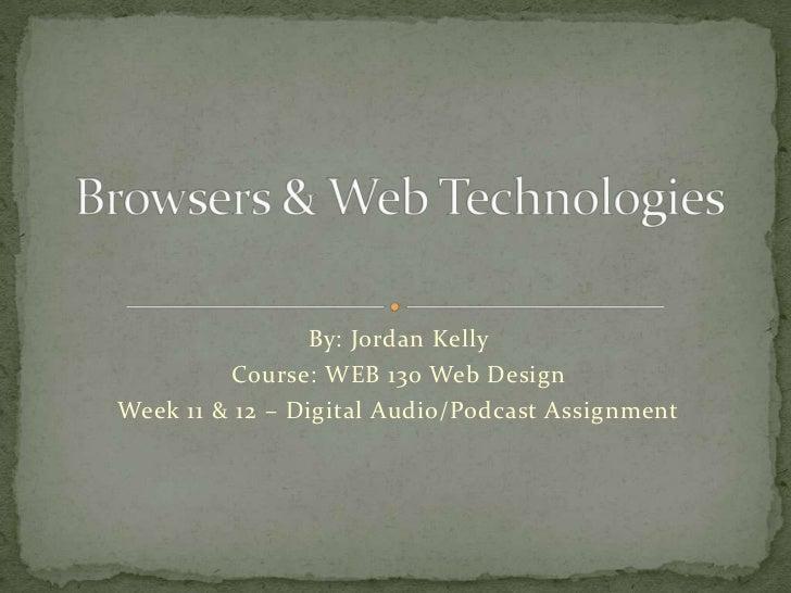 By: Jordan Kelly         Course: WEB 130 Web DesignWeek 11 & 12 – Digital Audio/Podcast Assignment