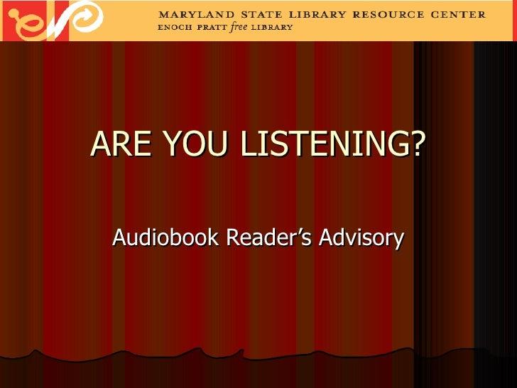 Audiobook advisory ppt