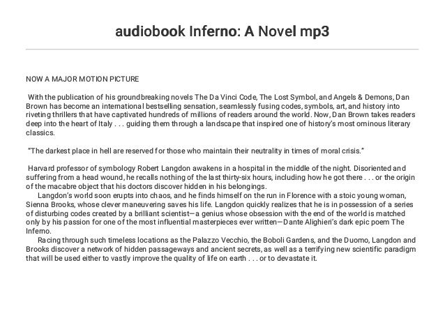 Audiobook Inferno A Novel Mp3