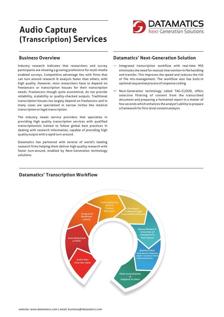 Audio Capture (Transcription) ServicesBusiness Overview                                                     Datamatics' Ne...