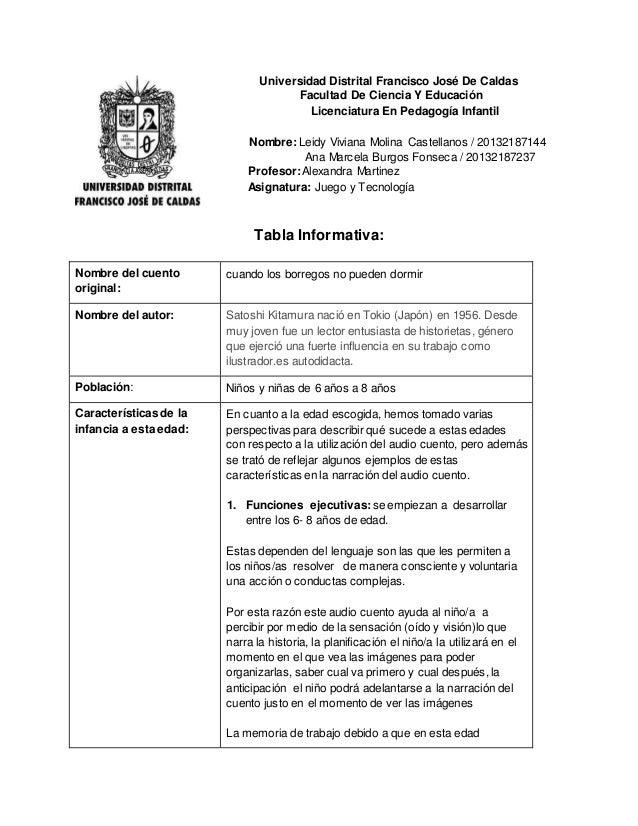 Universidad Distrital Francisco José De Caldas Facultad De Ciencia Y Educación Licenciatura En Pedagogía Infantil Nombre: ...