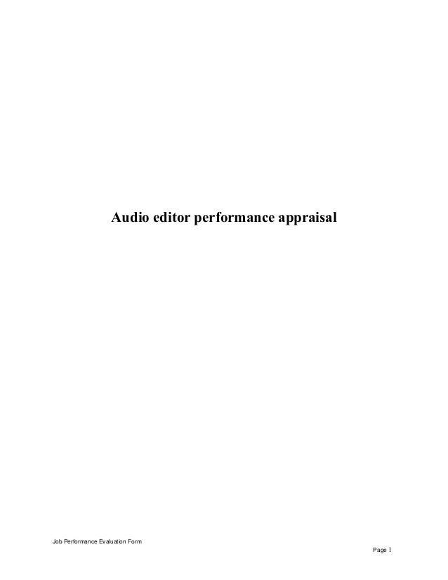 Audio editor performance appraisal Job Performance Evaluation Form Page 1