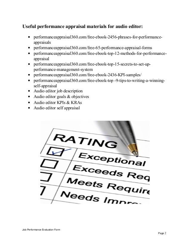Useful performance appraisal materials for audio editor: • performanceappraisal360.com/free-ebook-2456-phrases-for-perform...