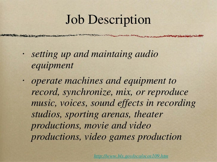 Recording Engineer Job Description. Audio Engineer .