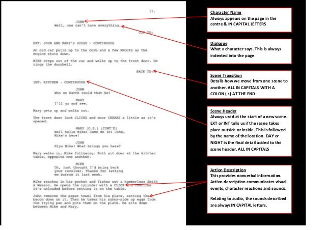 av script template - audio game script example annotated with explanations