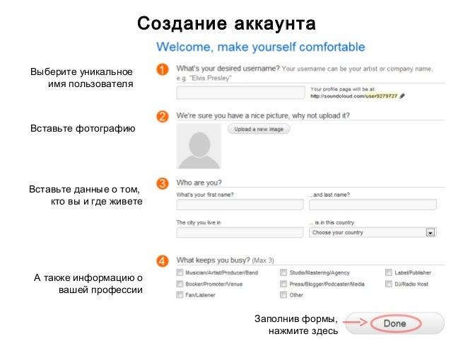 Создание аккаунтаВыберите уникальное   имя пользователяВставьте фотографиюВставьте данные о том,    кто вы и где живете А ...