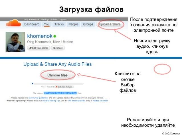 Загрузка файлов                  После подтверждения                  создания аккаунта по                   электронной п...