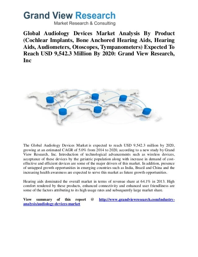 Global Audiology Devices Market Analysis By Product (Cochlear Implants, Bone Anchored Hearing Aids, Hearing Aids, Audiomet...