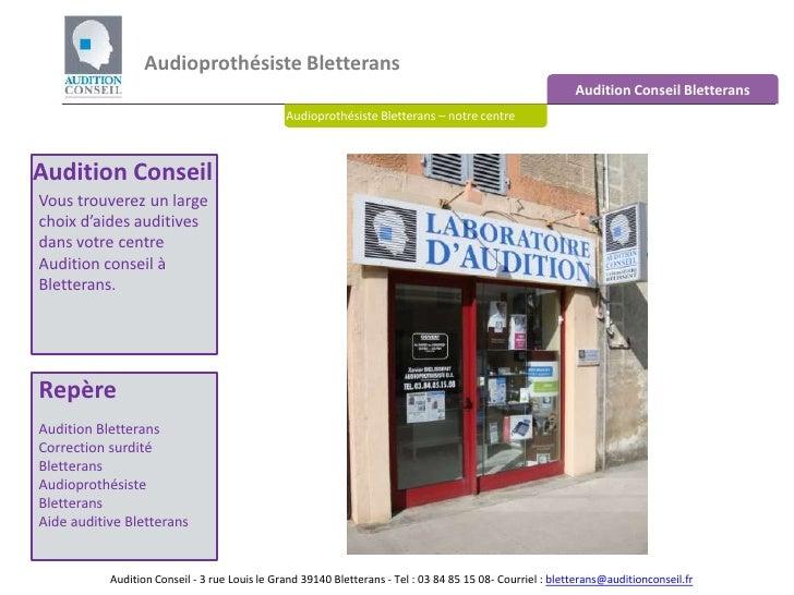 Audioprothésiste Bletterans <br />Audition Conseil Bletterans<br />Audioprothésiste Bletterans – notre centre<br />Auditio...