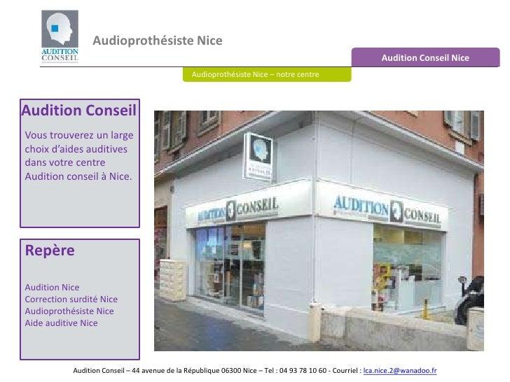 Audioprothésiste Nice <br />Audition Conseil Nice<br />Audioprothésiste Nice – notre centre<br />Audition Conseil<br />Vou...