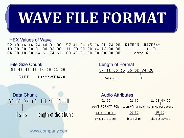 WAVE FILE FORMATHEX Values of WaveFile Size Chunk           Length of Format Data Chunk               Audio Attributes    ...